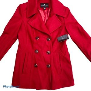 NWT London Fog Red Pea Coat